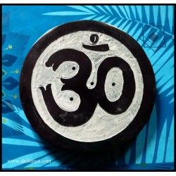Om stone round incense holder