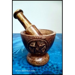 Mortar - wooden pestle with...